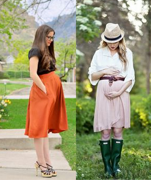 pregnant woman wearing a skirt with a belt and blouse. she has style