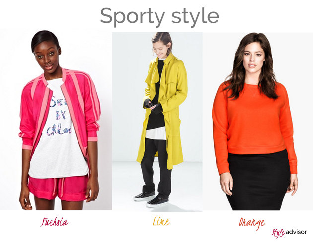 three women dressed in a sporty style. One is wearing fuchsia sport wear from Asos. The another woman is wearing lime trench from Zara and the thrid woman is having an orange sweatshirt from H&M