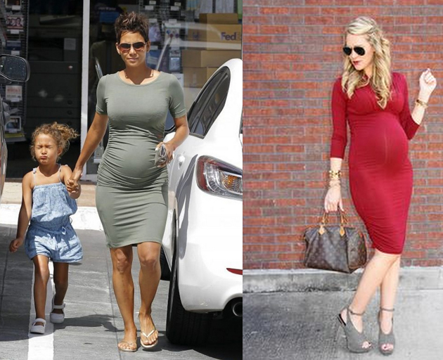 halle berry pregnant wearing a grey dress tight on the body. she looks very stylish on street style photos