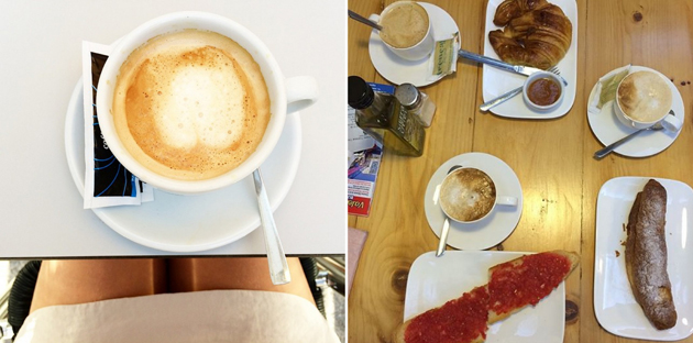 photos from Instagram with coffee and breakfast