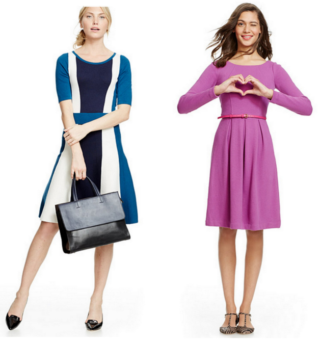 women in elegant dresses for office from Boden. One lady is wearing a purple dress and another one in stripes.