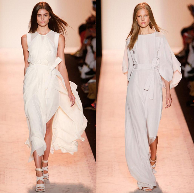 two models at NYFW 2015 in white dresses from BCBG Max azria