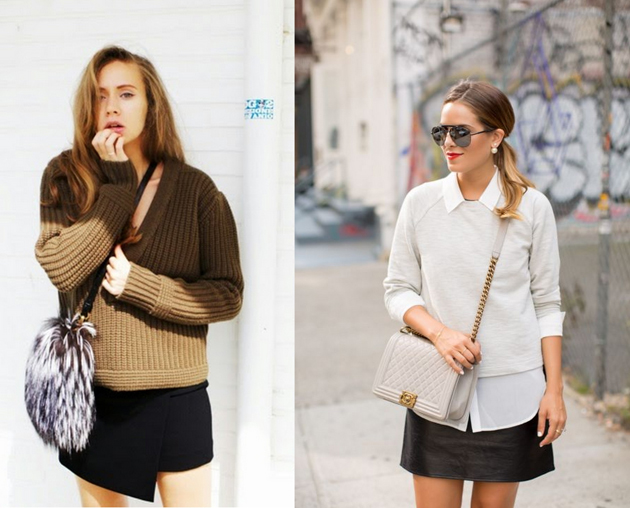 two girls wearing sweaters and skirts. They are dressed for fall.