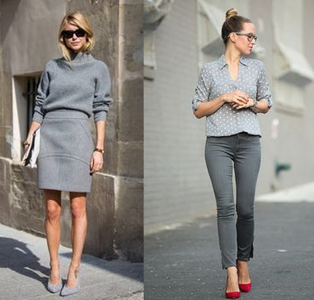 street style girl wearing all grey clothes and red shoes. she looks amazing