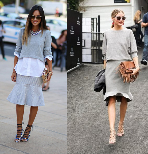 Olivia Palermo wearing grey skirt and grey sweater for fall fashion.