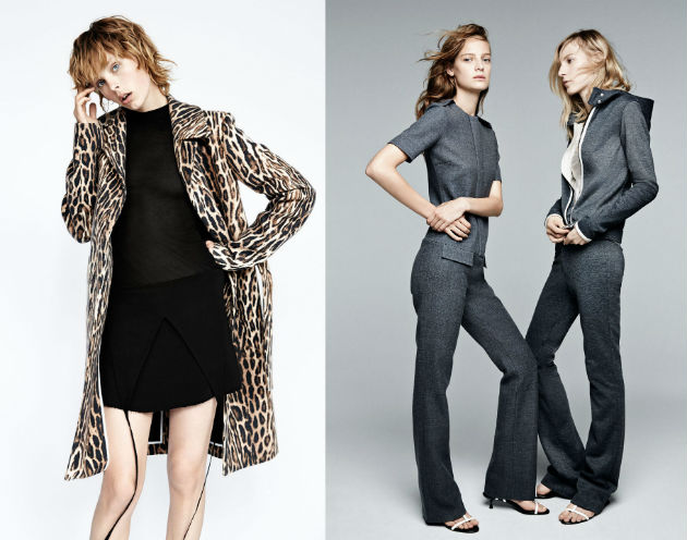 Zara lookbook for this autumn: grey suit for office - leopard jacket
