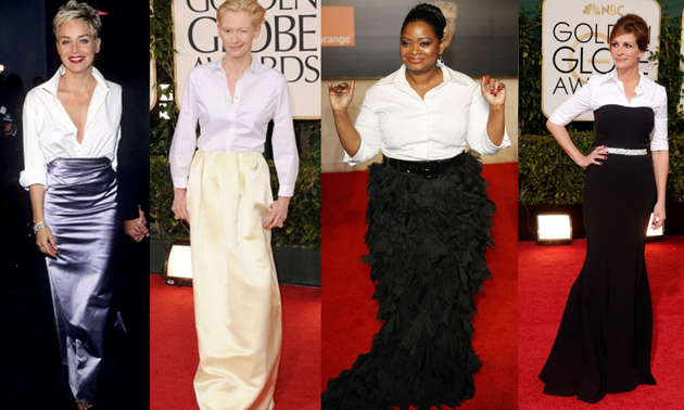 Sharon stone in white shirt, Tilda in white shirt, Julia Roberts wearing a white shirt to Golden Globes