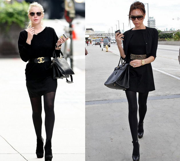 Victoria Beckham wearing only black. She looks taller and slimmer