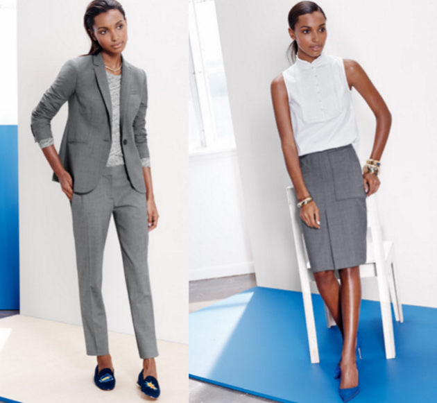 two women dressed elegant for office in grey suits and white shirts. The clothing are from J Crew.