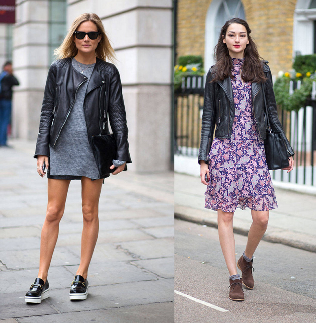girls in leather jacket and skirt. They are dressed for fall fashion