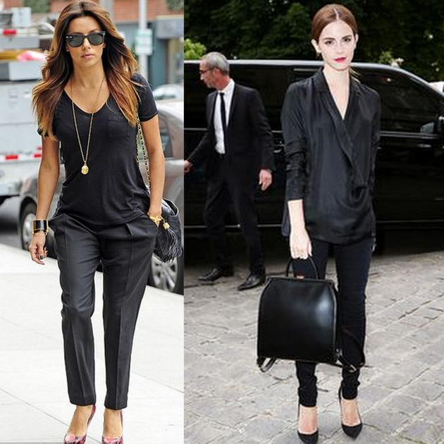 eva longoria and emma watson wearing only black clothes