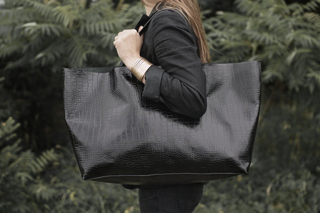 a German woman with a very big bags