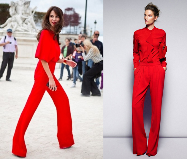 wearing-only-red clothes on the street. girls are looking stylish