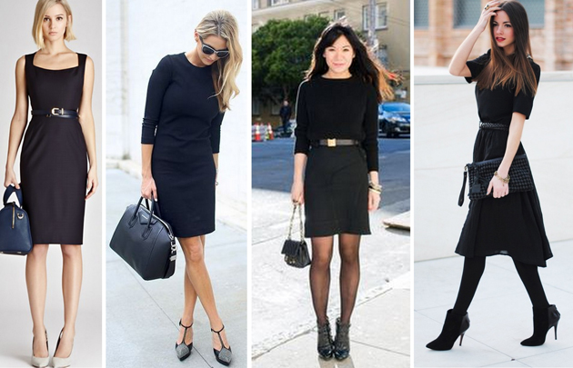 four women wearing black dresses. They are elegant and suitable for office. They are wearing high heels and look modern.