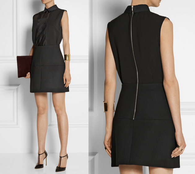 Woman wearing a black dress from Victoria Beckham