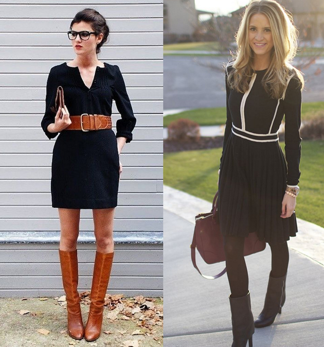 two ladies wearing boots and black dresses