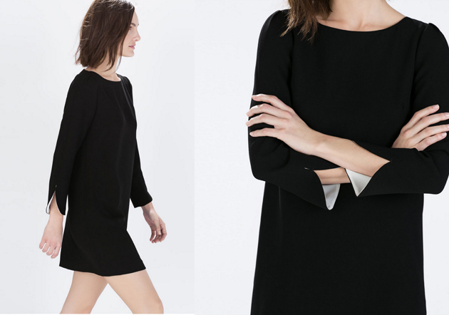 a woman wearing a black dress from Zara. She is has a minimalist style and she is very cool.