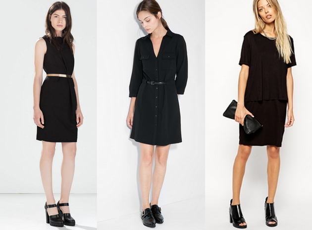 women going to office wearing black dresses from Zara, Mango and Asos.
