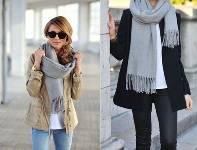 girls wearing grey scarves for fall outfits