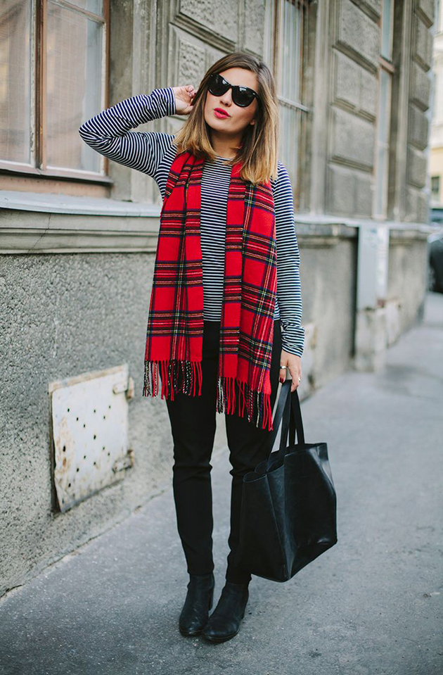 plaid scarf and stripes blouse