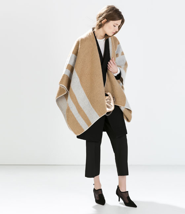 woman with a cape and scarf from Zara