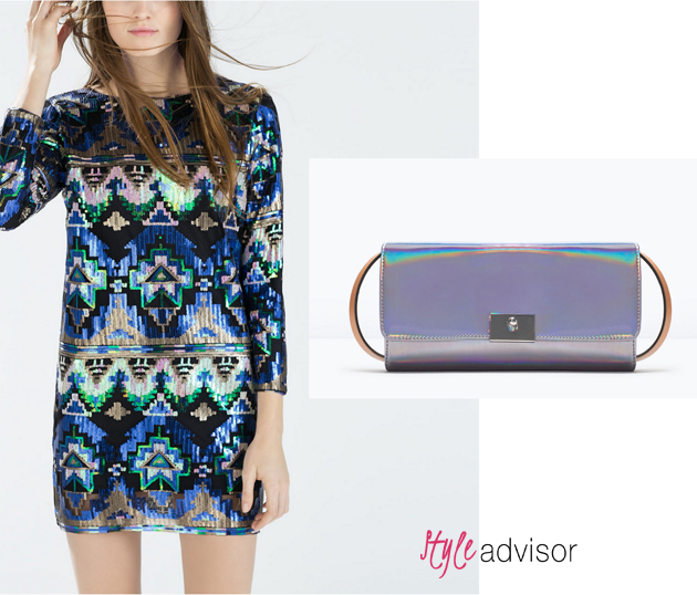 Party dress from Zara and matching clutch from Zara