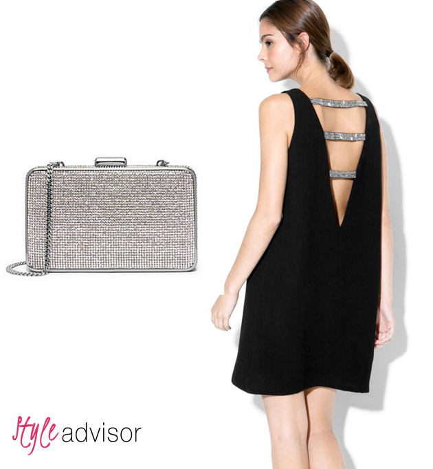 Lady wearing a beautiful backless black dress from Mango and a clutch from Michael Kors