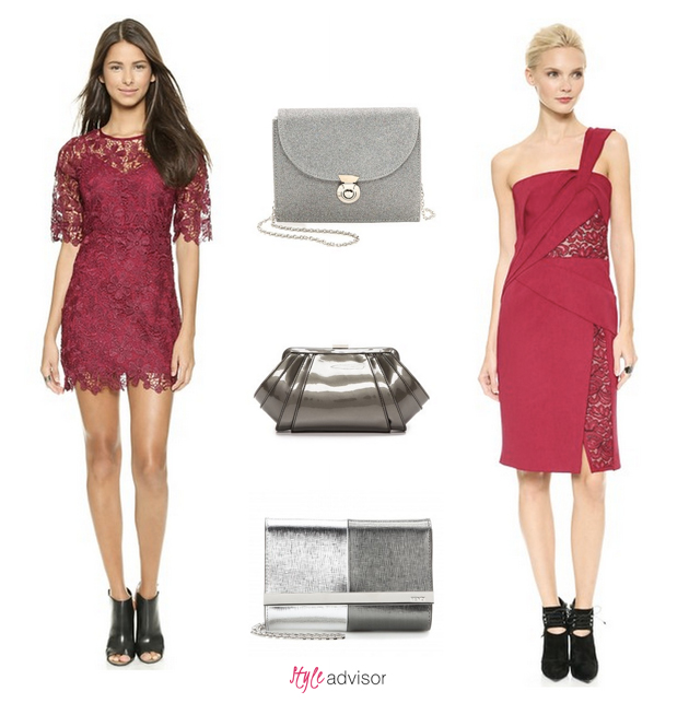 purple lace dress Michael Kors clutch