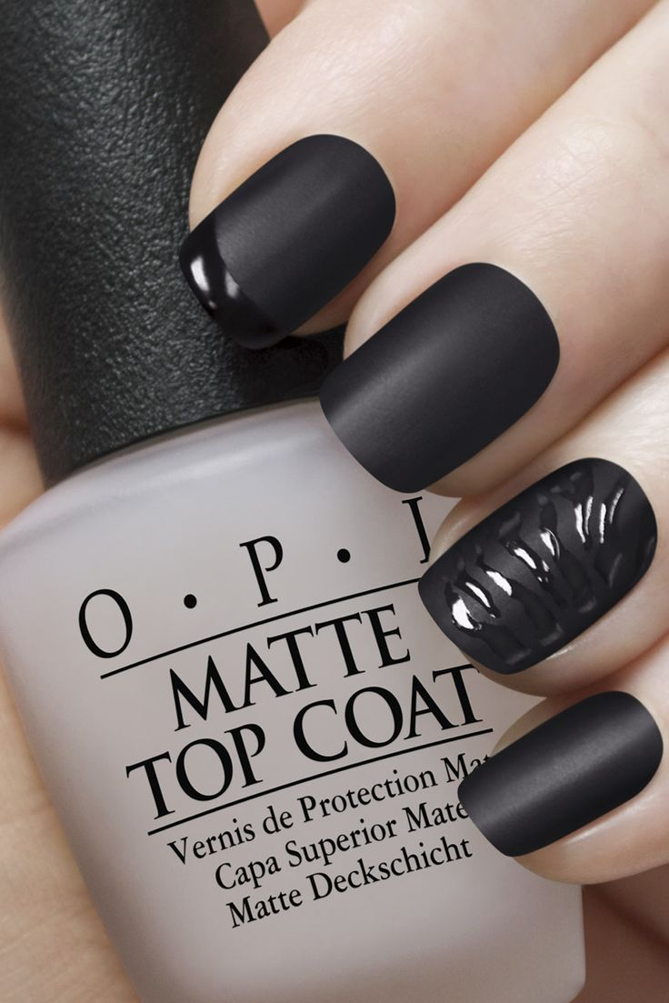 black nails matte coat