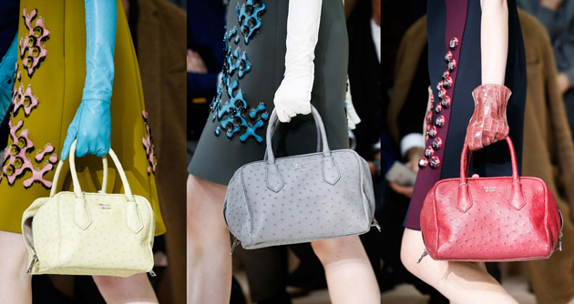 prada bags in different colors, in grey, yellow and red