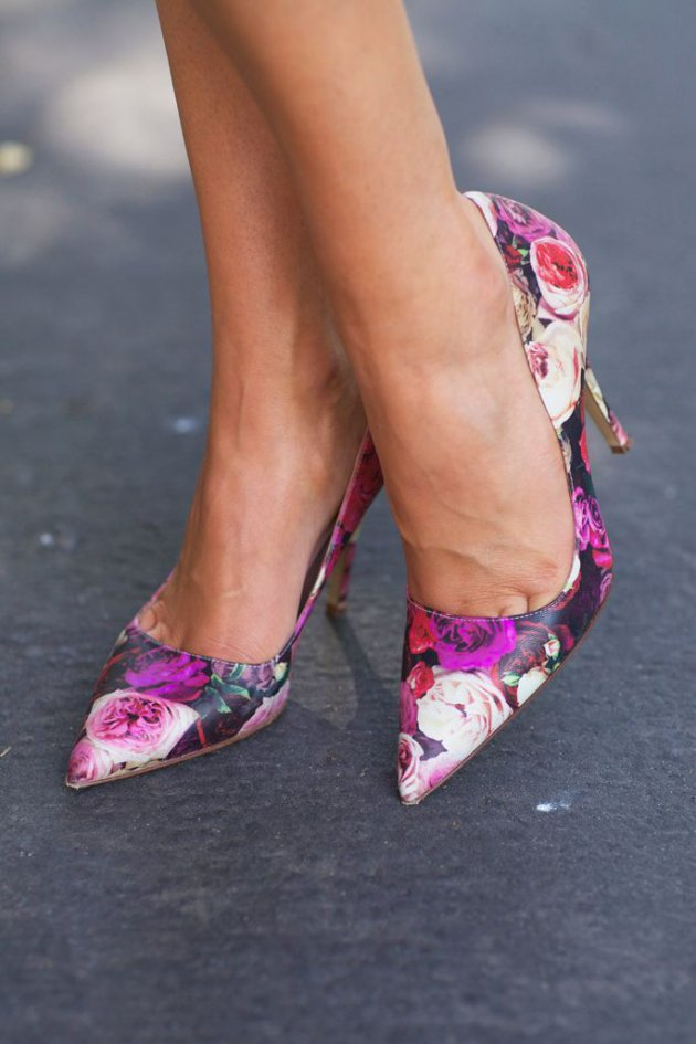 floral heels and outfit