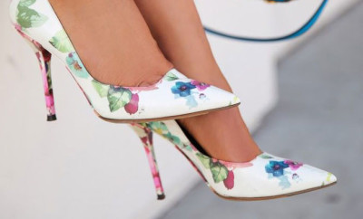 Floral shoes on the street