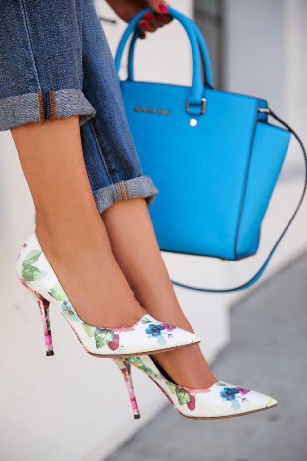 floral heels and blue bag from Michael Kors