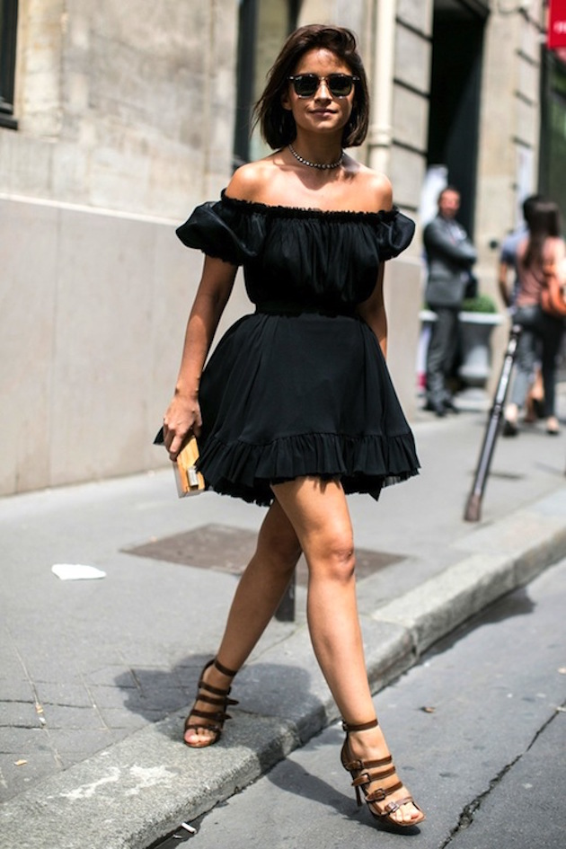 Street-Style-Miroslava-Duma-Off-The-Shoulder-Dress-Summer-Style-Via-Elle-Spain