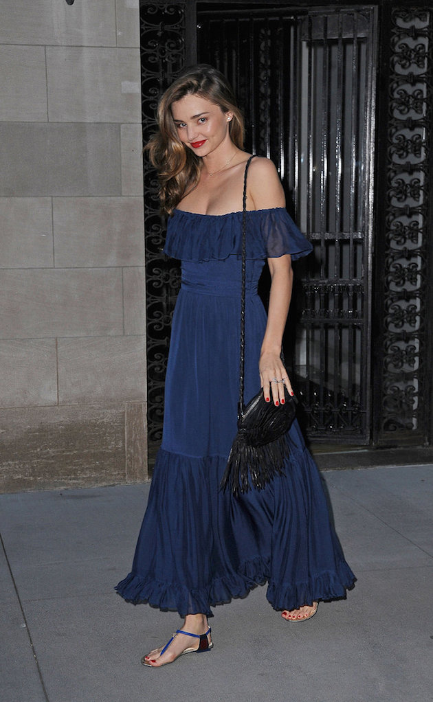 miranda kerr in an off the shoulders dress