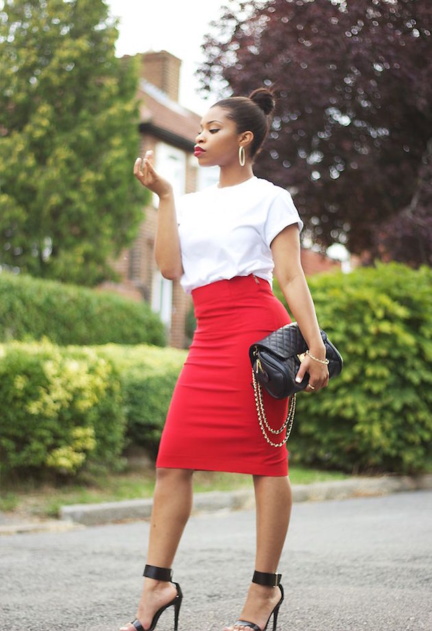 lady wearing red pencil skirt and white t.shirt