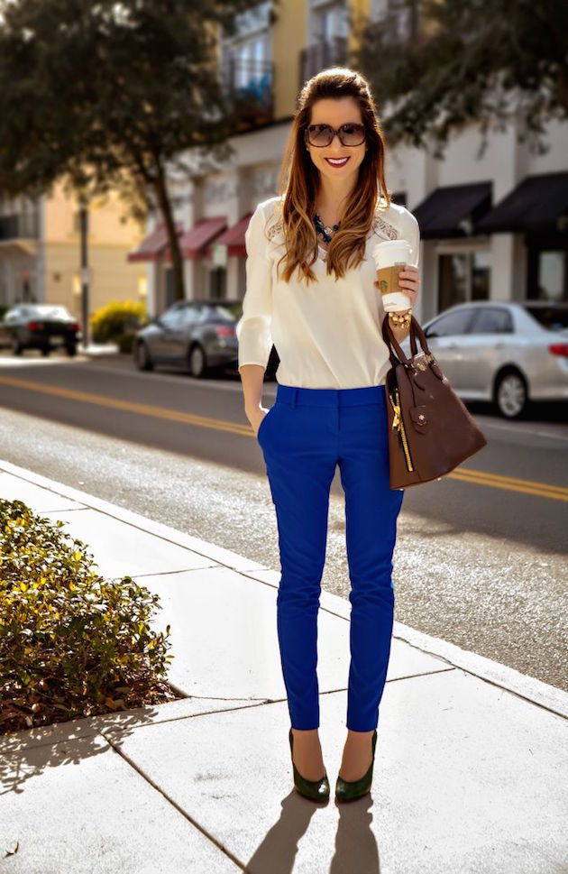 blue pants for summer look