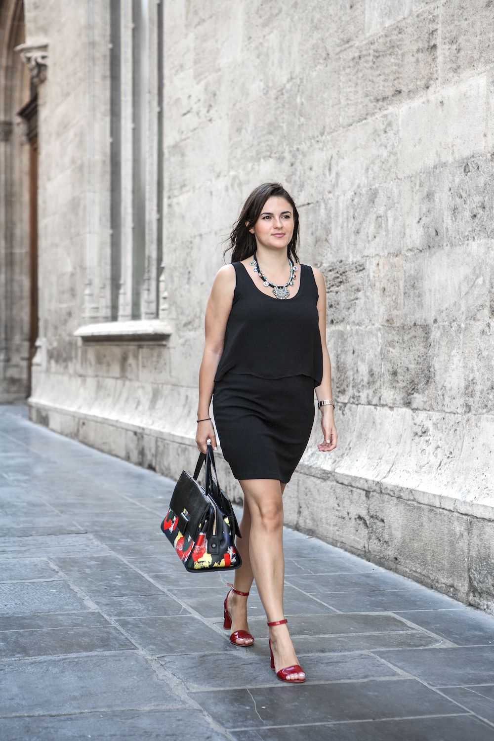 black dress and red shoes for office wear