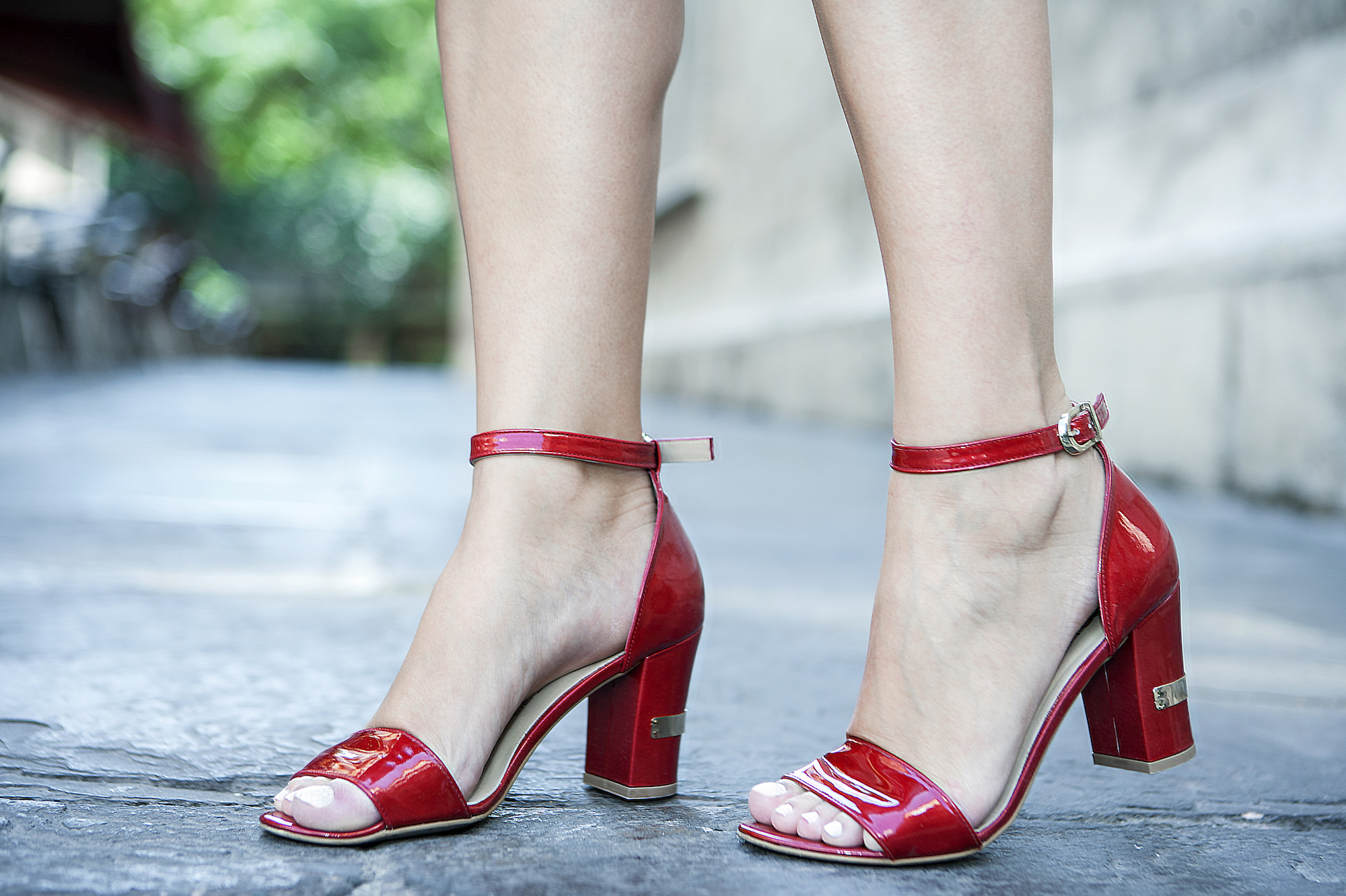 red shoes with golden details