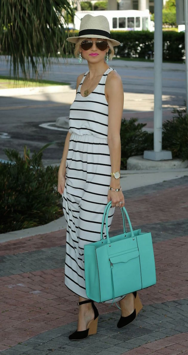 blonde girl wearing stripes maxi dress and wedges