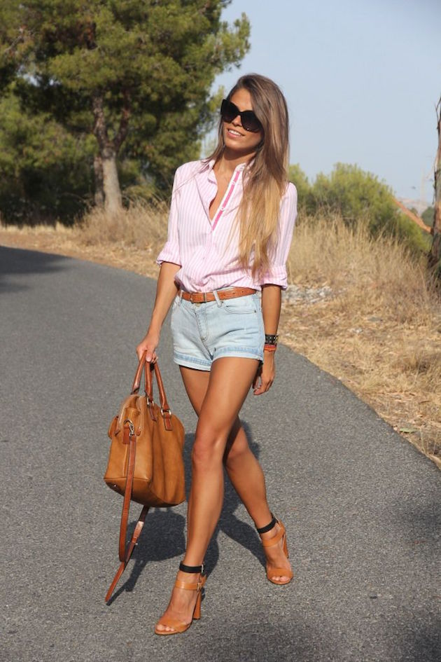 outfit with denim short with blue shirt