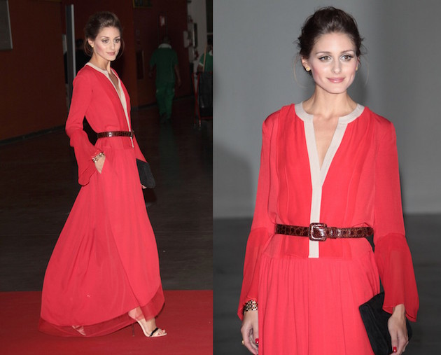Olivia Palermo wearing a long dress with a thin belt