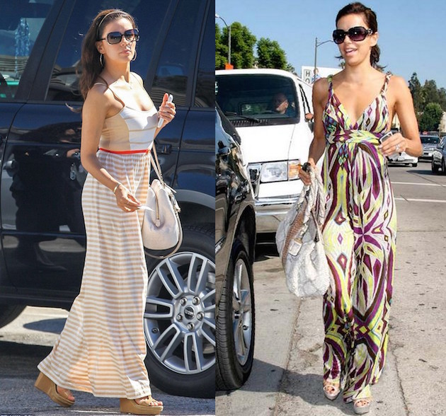 Eva Longoria wearing maxi dress with wedges