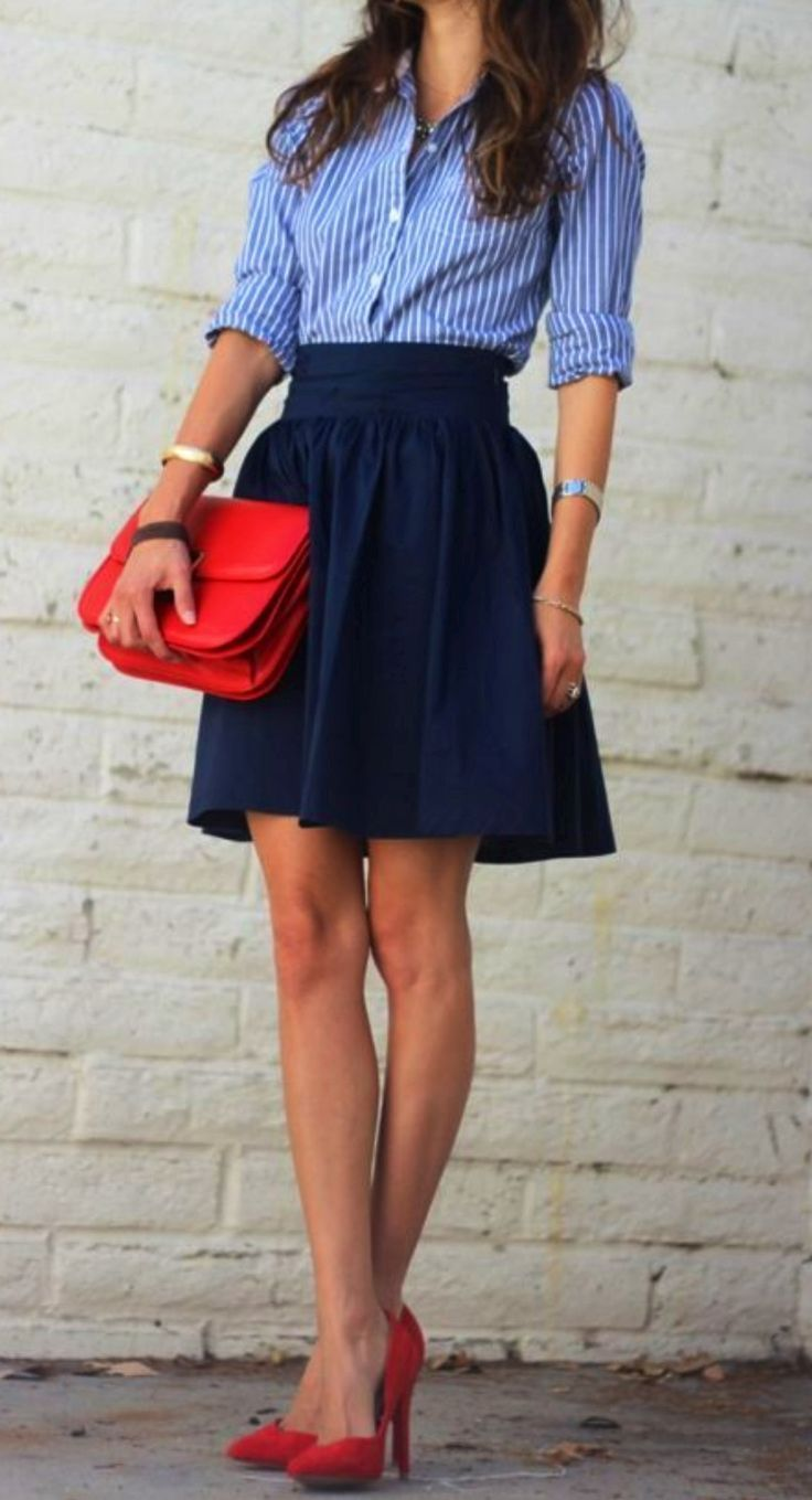 blue shirt and skirt
