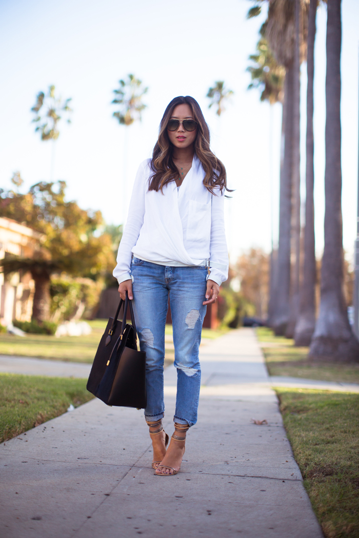 distressed-jeans and white shirt