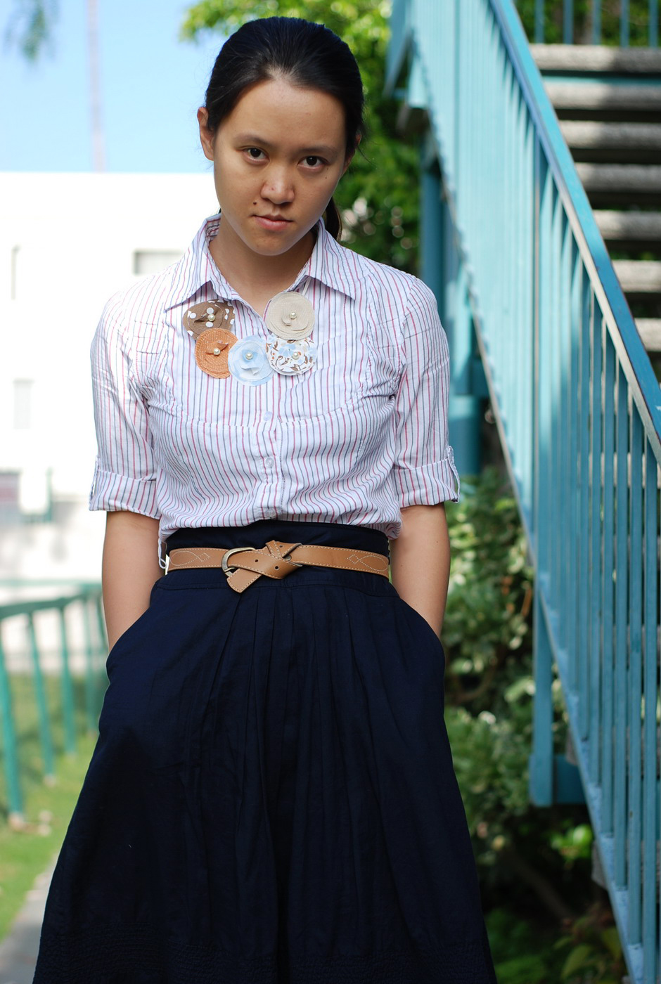 shirt and elegant skirt office look