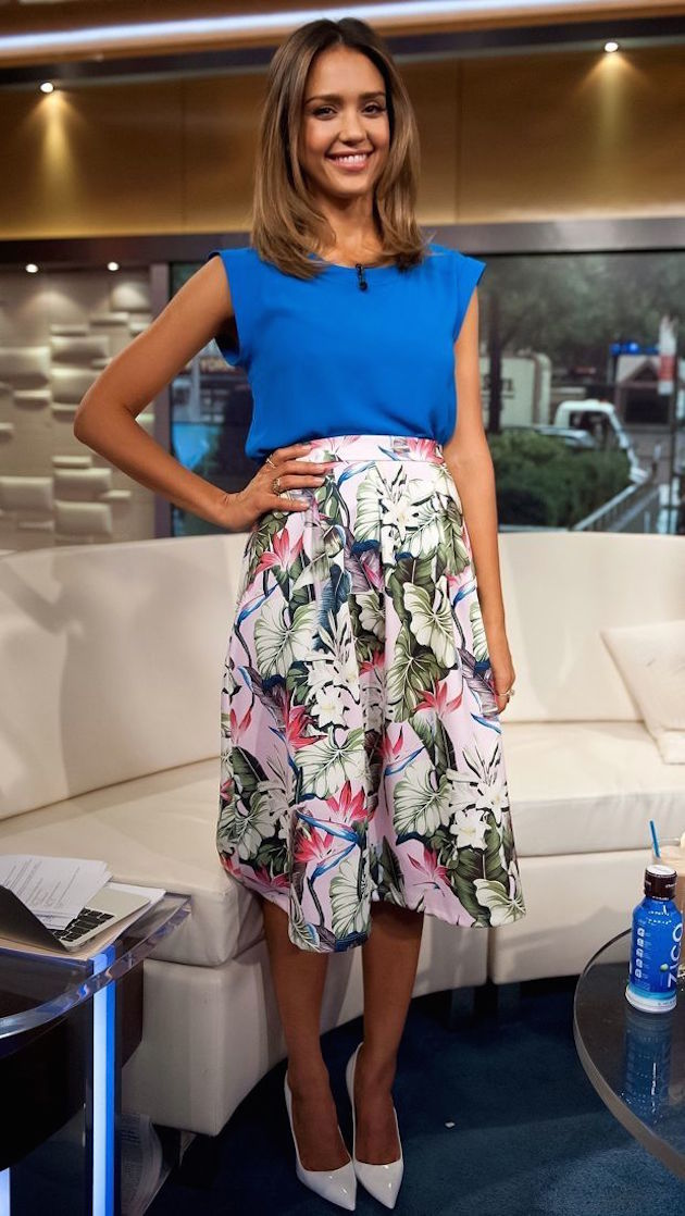 jessica alba style with midi skirt and blue blouse