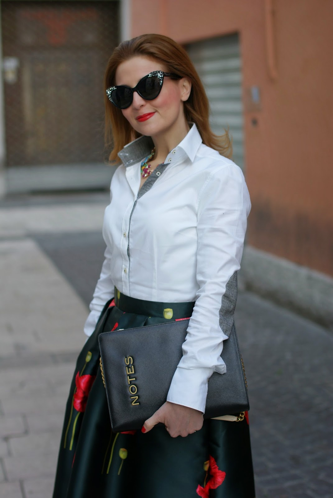 skirt and elegant shirt for office