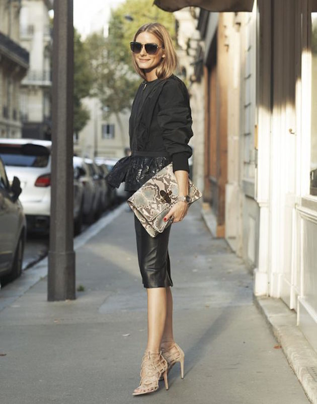 olivia palermo with a snake print clutch