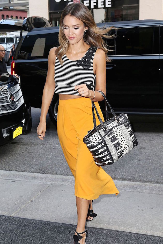 midi yellow skirt by Jessica Alba